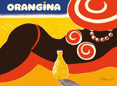 Orangina Sparkling Soda - Beach Bikini Ad by Bernard Villemot