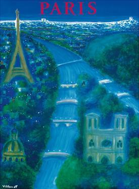 Paris - River Seine, Eiffel Tower, Notre Dame by Bernard Villemot