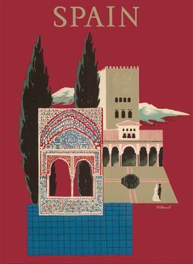 Spain - Spanish Mosaic Building by Bernard Villemot