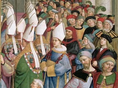 The Cardinals Processing Through the Crowd of Secular Onlookers, Detail from 'Aeneas Sylvius…