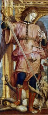 St Michael the Archangel Fighting a Dragon with a Sword, C1484-1526 by Bernardino Zenale
