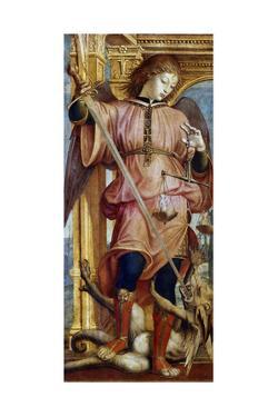 St Michael the Archangel Fighting a Dragon with a Sword, C1484-1526 by Bernardino Zenale