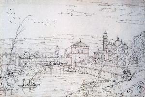 Bridge over the River and Santa Giustina, C1740-1780 by Bernardo Bellotto