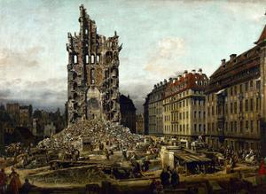 Dresden in ruins after Prussias invasion of Saxony in 1756. by Bernardo Bellotto
