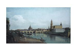 Dresden Seen from the Right Bank of the Elbe, Beneath the Augusts Bridge, 1748 by Bernardo Bellotto