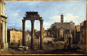 Rome - the Forum with the Temple of Castor and Pollux, C.1742-43 by Bernardo Bellotto