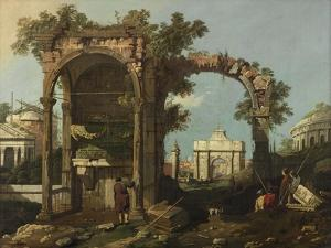 Ruins and Figures, Outskirts of Rome Near the Tomb of Cecilia Metella, C.1750-1775 by Bernardo Bellotto
