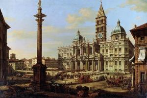 The Piazza and Church of Santa Maria Maggiore in Rome, 1739 by Bernardo Bellotto