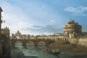 Tiber River and Castel Sant'Angelo, Rome, Circa 1742 by Bernardo Bellotto