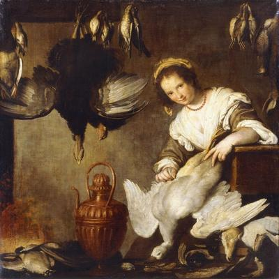 La Cuoca - a Kitchen Maid Plucking a Goose in an Interior