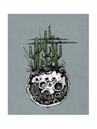Hand Drawn Illustration or Drawing of a Moon with Some Cactus and Desert Plants on It by bernardojbp
