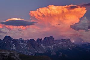 Italy, Region Trentino South Tirol, the Dolomites, Storm Cloud About the Rose Garden Massif, Rose G by Bernd Rommelt