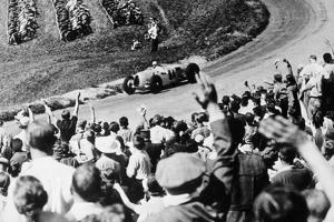 Bernd Rosemeyer Acclaimed by the Crowd, German Grand Prix, Nurburgring, 1936