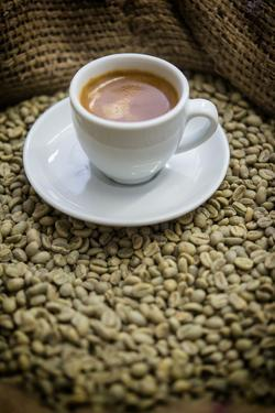 Cup of Espresso on a Sack with Unroasted Coffee Beans by Bernd Wittelsbach