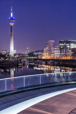 DŸsseldorf, North Rhine-Westphalia, Media Harbour with Television Tower and Gehry Houses at Dusk