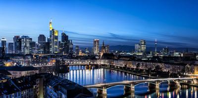 Frankfurt, Hesse, Germany, Frankfurt Skyline Financial District at Dusk by Bernd Wittelsbach