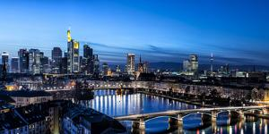 Frankfurt, Hesse, Germany, Frankfurt Skyline Financial District at Dusk by Bernd Wittelsbach
