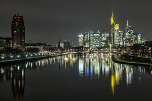 Frankfurt on the Main, Hesse, Germany, Europe, Skyline with the Flš§erbrŸcke by Bernd Wittelsbach