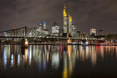 Germany, Hesse, Frankfurt Am Main, Financial District, Skyline with Iron Footbridge at Dusk