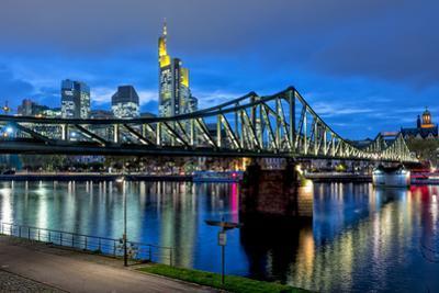 Germany, Hesse, Frankfurt Am Main, Financial District, Skyline with Iron Footbridge at Dusk by Bernd Wittelsbach