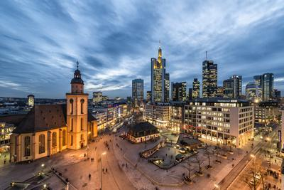 Germany, Hesse, Frankfurt on the Main, Skyline with Hauptwache and St. Catherine's Church