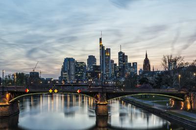 Germany, Hesse, Frankfurt on the Main, Skyline with Ignaz Bubis Bridge at Dusk
