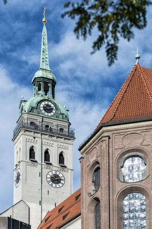 Munich, Bavaria, Germany, View to St. Peter's Church from the Viktualienmarkt (Food Market)