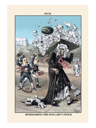 Puck Magazine: Demolishing the Old Lady's Stock