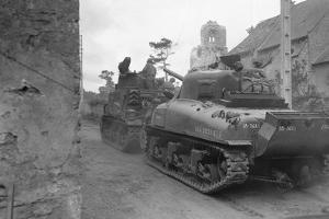 American Tanks Passing through Town to Battle by Bert Brandt