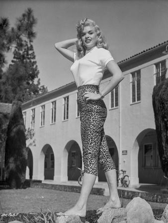 Jayne Mansfield Posed in White Short Sleeve Shirt and Black High Waist Tight Pants with Left Waist