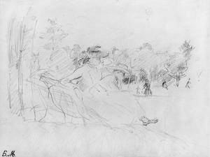 At the Bois De Boulogne, 1888 (Black Lead on Paper) by Berthe Morisot