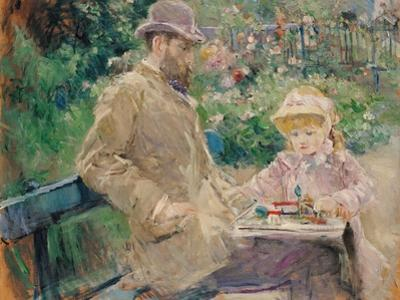 Eugene Manet (1833-92) with His Daughter at Bougival, c.1881 by Berthe Morisot