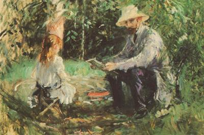 Eugène Manet and His Daughter in the Garden by Berthe Morisot