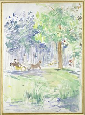 Horse and Carriage on a Woodland Road, after 1883 (Watercolour on White Wove Paper) by Berthe Morisot