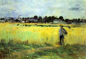 Berthe Morisot In Wheat Field Impressionist Art Print Poster