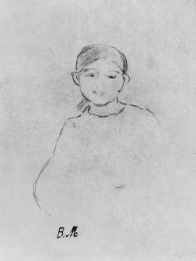 Portrait of a Young Girl, 1887 (Black Lead on Paper) by Berthe Morisot