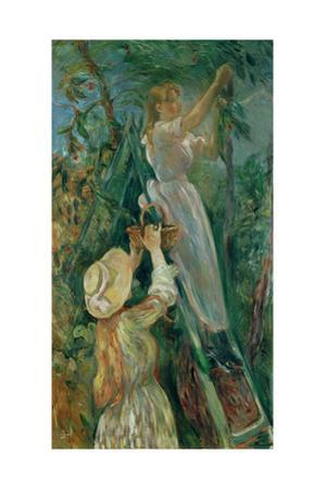 The cherry-pickers. Canvas. by Berthe Morisot