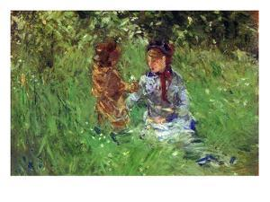 Woman and Child in Garden in Bougival by Berthe Morisot