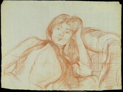 Young Girl Leaning on Her Elbow, 1887 (Red Chalk on Paper) by Berthe Morisot