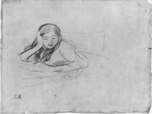 Young Girl Reading, 1889 (Black Lead on Paper) by Berthe Morisot