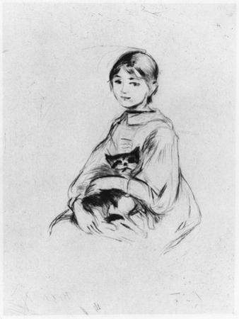 Young Girl with Cat, 1889 (Drypoint) by Berthe Morisot