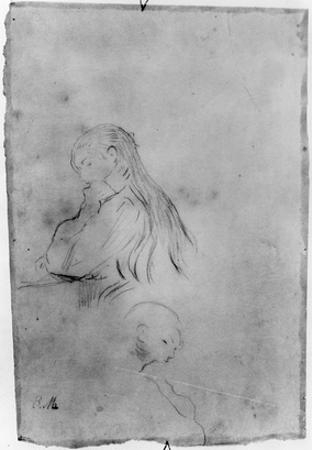 Young Girl Writing, 1891 (Charcoal on Paper) by Berthe Morisot