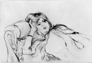 Young Woman at Rest, 1889 (Drypoint) by Berthe Morisot