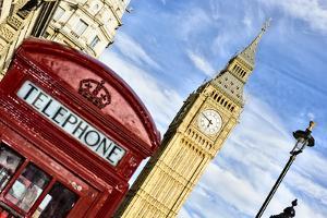 British Icons the Red Phone Box and Big Ben by Berthold Trenkel