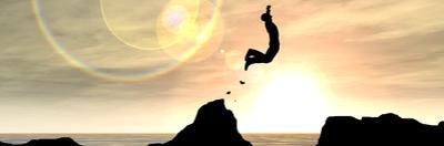 Concept or Conceptual Young Man or Businessman Silhouette Jump Happy from Cliff over Water Gap Suns by bestdesign36