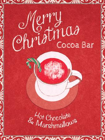 Chalkboard Christmas Signs IV on Red by Beth Grove