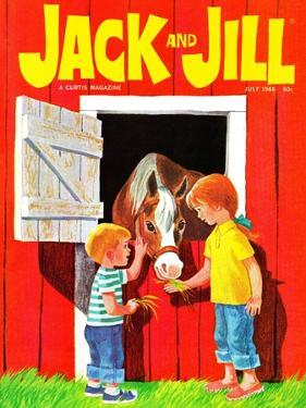 Feeding the Horse - Jack and Jill, July 1966 by Beth Krush