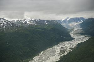 Clouds Hang Low over Peaks and Receding Glaciers in the Alaska Range by Beth Wald