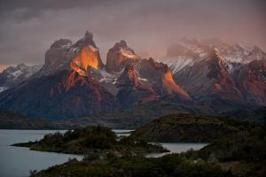 Dawn Over Mountains and Lago Pehoe in Torres Del Paine National Park by Beth Wald