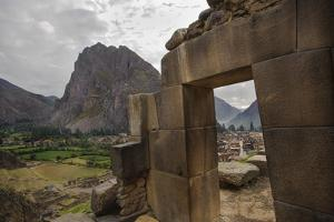 Intricate Stonework of a Door in the Temple Complex in the Ruins of an Incan Fortress by Beth Wald